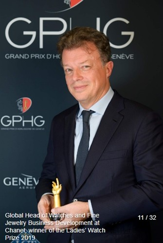 Nicolas Beau (Directeur International Chanel) Global head of watches and fine jewelry business development at channel winner of the ladies watch prize 2019