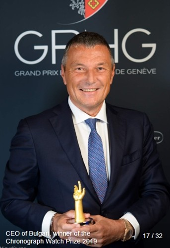 Jean-Christophe Babin (Group CEO at Bulgari) winner of the chronograph watch prize 2019